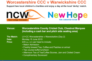 Charity Cricket Day Worcestershire CCC v Warwickshire CCC in Support of Two Local Charities